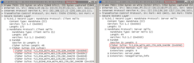 Wireshark - TLS1.2 - Success - Cipher Suites