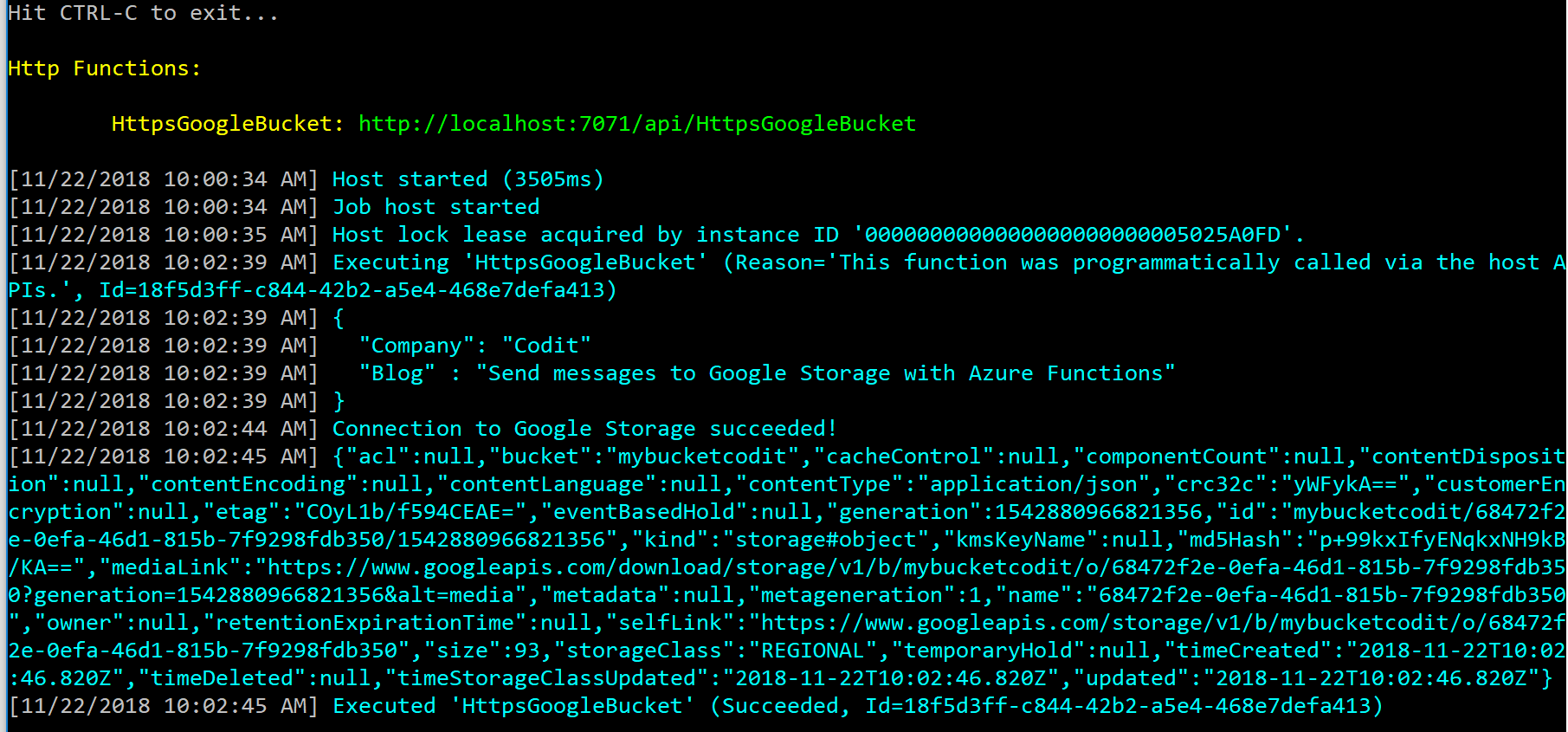 Send messages to Google Storage with Azure Functions - Picture 6