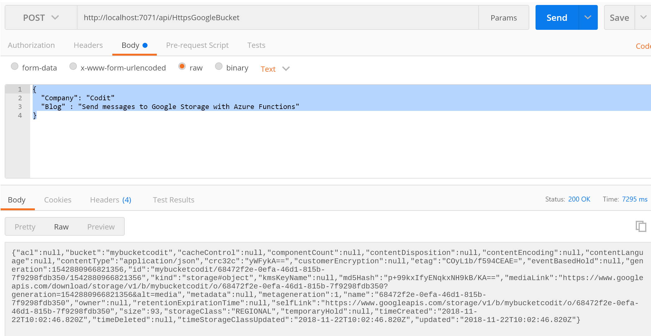 Send messages to Google Storage with Azure Functions - Picture 7