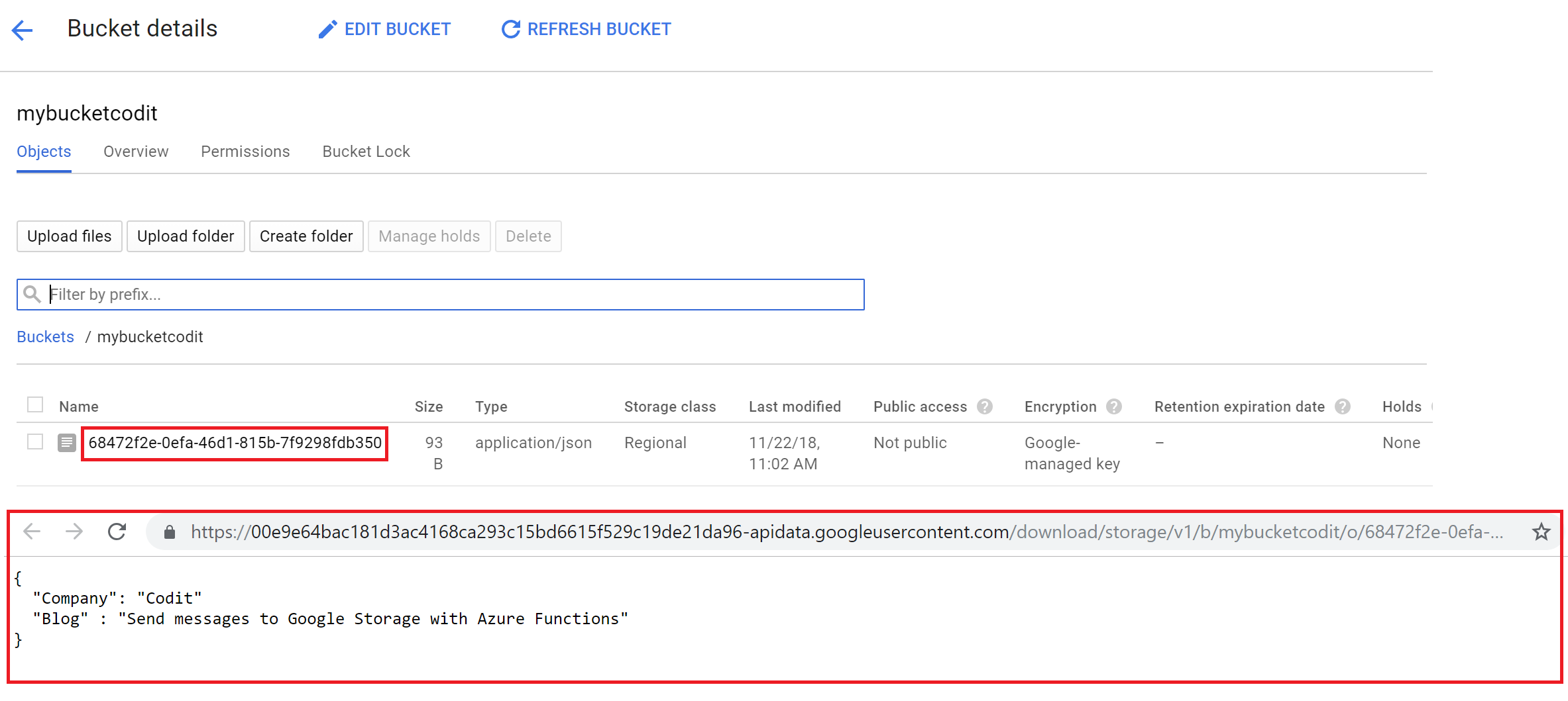 Send Messages to Google Storage with Azure Functions | Codit